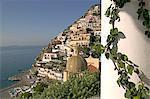 Positano, vue depuis l'hôtel Sirenuse, côte amalfitaine, l'UNESCO World Heritage Site, Campanie, Italie, Europe