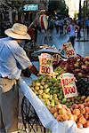 Caler la vente de fruits à Santiago central sur l'Avenue o ' Higgins, Santiago du Chili en Amérique du Sud