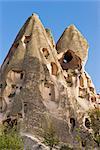Ancienne troglodytique habitations troglodytiques à Uchisar, Cappadoce, Anatolie, Turquie, Asie mineure, Eurasie