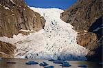 Briksdal's Glacier flowing into Nordfjord, Norway, Scandinavia, Europe
