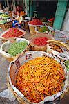 Piments et autres légumes, marché de Chinatown, Bangkok, Thaïlande, Asie