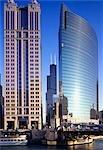 Buildings on Wacker Drive, Chicago.
