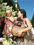 Mutter und Tochter Blumen Rupfen