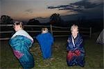 Sleeping bag races at dusk