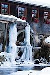 Rad bedeckt im Eis an der Hexenloch-Mühle, Schwarzwald, Baden-Württemberg, Deutschland