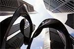 Sculpture à Raffles Place, Singapour Financial District, Singapour