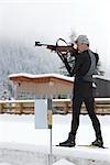 Athlète masculin de Biathlon, cibles de tir, Whistler, Colombie-Britannique, Canada