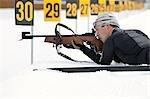 Nahaufnahme der männlichen Biathlon-Sportler, Zielscheibenschießen, Whistler, Britisch-Kolumbien, Kanada