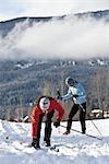 Couple Cross Country Ski, Whistler, British Columbia, Canada
