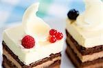 Weiße Schokolade Kuchen mit Himbeeren