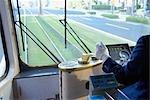 Driver in Streetcar at Kyushu,Kagoshima Prefecture,Japan