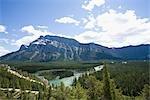 Mountain Range against Cloudy Sky in Alberta, Canada