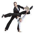 Two female contortionist businesswomen