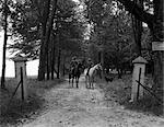 1930s MAN WOMAN RIDING HORSEBACK EASTERN STYLE IN BERKSHIRES NEAR LENOX ON BRIDAL PATH