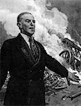 WOODROW WILSON 1856-1924 STAND VOR SCHLACHTSZENE ANKÜNDIGUNG LIGA NATIONEN 28. US-PRÄSIDENT