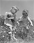 1940s BOY & GIRL PICKING DAISIES