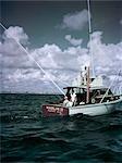 1950s 3 MEN ON CHARTER FISHING BOAT MARLIN II FREEPORT NEW YORK SPORT FISH