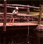 1960s BAREFOOT BLOND BOY WOODEN BRIDGE FISHING POLE POND STREAM