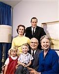1960s PORTRAIT OF THREE GENERATION FAMILY PARENTS GRANDPARENTS SON DAUGHTER MAN WOMAN BOY GIRL