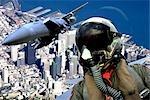 F-15 FIGHTER JET OVER SAN FRANCISCO