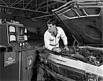 1960s AUTO AUTOMOBILE MECHANIC TESTING ENGINE ELECTRONICS UNDER HOOD CAR TUNE UP CHECK REPAIR