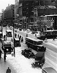 1930ER JAHRE 1935 RETRO SNOWY PHILADELPHIA CITY STREET IM WINTER
