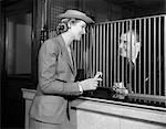 1940s BANK TELLER FINANCE CUSTOMER WOMAN MAN MONEY COMMERCE HAT SUIT