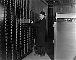 1940s BANK SAFETY DEPOSIT MAN SUIT HAT FINANCE