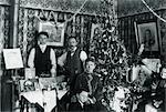 1890s VINTAGE FAMILY PORTRAIT MEN WOMEN CHILDREN DRAWING ROOM CHRISTMAS TREE