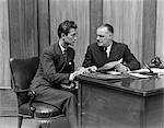 1940s MEN OFFICE DESK WORK BUSINESS PAPERWORK CONTRACT SUIT