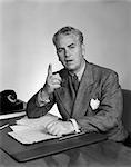 1940s MAN DESK BUSINESS POINT FINGER TELEPHONE