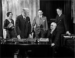 1930s RETRO MEETING MEN WOMAN DESK BUSINESS CONFERENCE