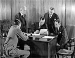 1930s RETRO MEN MEETING DESK BUSINESS SUITS PAPERWORK