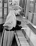 1950s WOMAN BANK MONEY GLOVES OVERCOAT HAT SIGNATURE FINANCE
