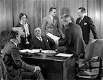 1930s MEETING MEN WOMAN DESK CONFERENCE SUIT PAPERWORK
