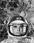 1960s ASTRONAUT MONTAGE PORTRAIT MOON SPACE HELMET UNIFORM OUTER