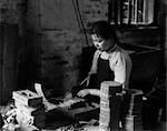 1920s 1930s CHINESE GIRL CUTTING PAPER TUBES FIRECRACKER FACTORY WORK HONG KONG CHINA