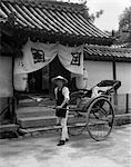 1930s JAPANESE MAN WORKER PULLING RICKSHAW RIKSHA JINRIKSHA STAND BEFORE TEMPLE IN KOBE JAPAN