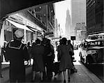 1940s GRAND CENTRAL STATION PEDESTRIAN SAILOR UNIFORM TAXI STORE MEN WOMEN 42ND STREET SIDEWALK NYC USA