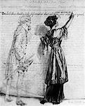 1900S ZEICHNUNG FRAU EINFÜGEN VON SCHREIBEN WÖRTER UND FRAUEN IN DER ERKLÄRUNG DER UNABHÄNGIGKEIT ALS GEIST VON THOMAS JEFFERSON BLICKT AUF