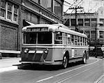 1930s 1940s ALL SERVICE VEHICLE OPERATES AS TROLLEY BUS OR GASOLINE BUS PUBLIC TRANSPORTATION RETRO ELIZABETH NJ