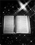 OPEN BOOK BIBLE RIBBON BOOKMARK MATTHEW AGAINST STAR BACKGROUND LARGE STAR OF BETHLEHEM CHRISTMAS