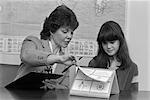 1980s GRADE SCHOOL TEACHER HOLDING CLIPBOARD TESTING FEMALE STUDENT