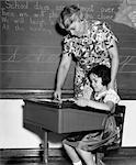 1930s FEMALE TEACHER IN FRONT OF BLACKBOARD HELPING GIRL STUDENT AT DESK READING BOOK
