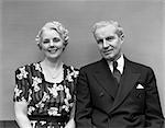 1940s OLDER COUPLE DRESSED UP
