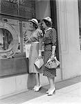 LADIES WOMEN WINDOW SHOPPING 1930s