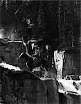 ZWANZIGER JAHRE DREIßIGER JAHRE COWBOY AUF PFERD VON WASSERFALL IN PINE FOREST RIESEN SCHRITTE PARADISE VALLEY KANADA WESTGRENZE
