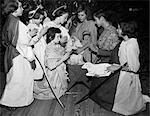 1950s CHILDREN BOYS GIRLS IN COSTUMES CHRISTMAS PLAY NATIVITY SCENE WISE MEN ANGELS LAMB JESUS MARY JOSEPH SHEPHERD