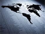 Weltkarte auf Liste der Aktienkurse