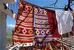 Textiles for sale in village near Lasithi Plateau, Crete, Greek Islands, Greece, Europe